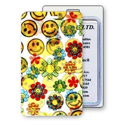 Lenticular luggage tag with cute yellow flowers and happy faces, flip with