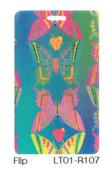 Lenticular luggage tag with rainbow butterflies, color changing