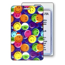 Lenticular luggage tag with multi colored smiley faces, depth