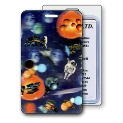 Lenticular luggage tag with universe space ships, planets, comets and asteroids, depth