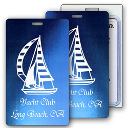 Lenticular luggage tag with dark blue and light blue, color changing