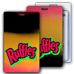 Lenticular luggage tag with red, yellow, and black gradient, color changing