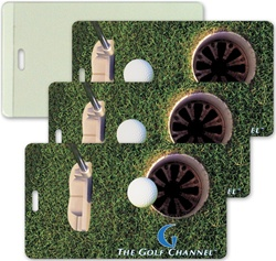 Lenticular luggage tag with putter hits golf ball into hole, animation