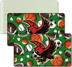 Lenticular luggage tag with baseballs, soccer balls, futbols, basketballs, and American footballs, depth
