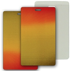 Lenticular luggage tag with brown, yellow, and orange, color changing with