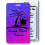 Lenticular luggage tag with red and blue gradient, color changing