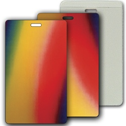 Lenticular luggage tag with red, yellow, blue, and green, color changing
