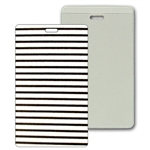 Lenticular luggage tag with black and white stripes, animation
