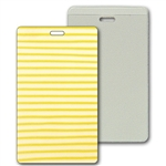 Lenticular luggage tag with yellow and white stripes, animation