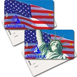 Lenticular privacy tag with Statue of Liberty and American flag, flip
