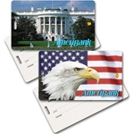 Lenticular privacy tag with Washington, DC white house and bald eagle with USA American flag, flip