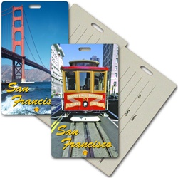 Lenticular privacy tag with San Francisco trolley cable car, Golden Gate Bridge, flip