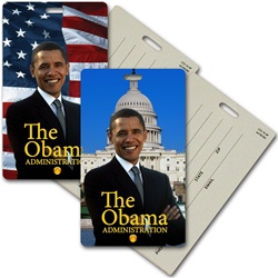 Lenticular privacy tag with USA American President Obama, flag and capitol building, flip