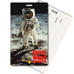 Lenticular privacy tag with NASA explorer astronaut stands on grey dusty Moon in outer space, depth