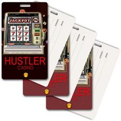 Lenticular privacy tag with Las Vegas casino slot machine spins reels for a jackpot, animation