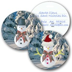 Lenticular luggage tag with circle shaped, Frosty the snowman switches from a top hat to a Santa Claus hat, flip