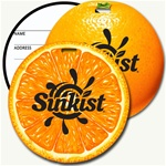 Lenticular luggage tag with circle shaped, orange fruit, sweet and juicy, outer skin and inside flesh, flip
