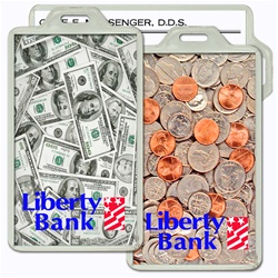 Lenticular acrylic luggage tag with USA American money, currency, dollars and coins, flip