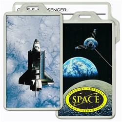 Lenticular acrylic luggage tag with custom design, NASA Discovery space shuttle in orbit, Earth and Moon