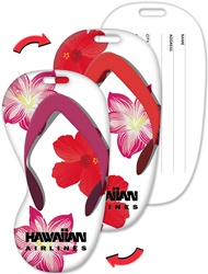 Lenticular luggage tag with flip-flop sandal shaped, tropical Hawaiian red hibiscus and pink plumeria flowers, flip