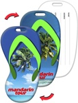 Lenticular luggage tag with flip-flop sandal shaped, tropical Hawaiian palm tree beach with white sand and clouds, flip