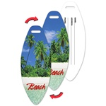 Lenticular luggage tag with surf board shaped, tropical Hawaiian palm trees on warm white sand beach, flip