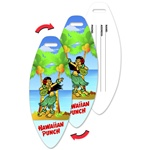 Lenticular luggage tag with surfboard-shaped, dancing tropical Hawaiian hula girl, palm tree with coconuts, animation