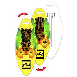 Lenticular luggage tag with surf board shaped, tiki statues and tropical Hawaiian flowers, yellow background, flip