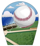 Lenticular sports luggage tag with arch shaped, Baseball Sports 3d effect