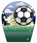 Lenticular sports luggage tag with arch shaped, kick soccer ball 3d effect
