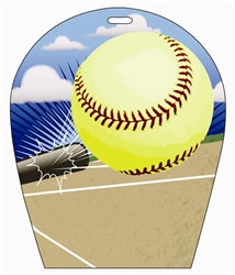 Lenticular sports luggage tag with arch shaped, Softball Sports 3d effect