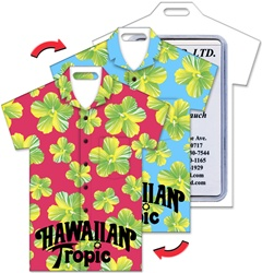 Lenticular luggage tag with t-shirt shaped, tropical Hawaiian lei flowers switch from blue to red background, flip