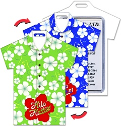 Lenticular luggage tag with t-shirt shaped, tropical Hawaiian white flowes switch from green to blue background, flip