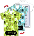Lenticular luggage tag with t-shirt shaped, black tiki statue pattern switches from green to turquoise background, flip