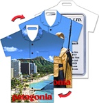 Lenticular luggage tag with t-shirt shaped, Waikiki Beach, Oahu, Hawaii and King Kamehameha, flip