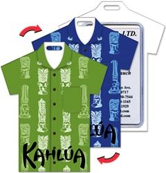 Lenticular luggage tag with t-shirt shaped, tropical Hawaiian white tiki statue pattern, changes from green to blue background