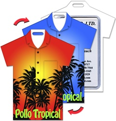 Lenticular luggage tag with t-shirt shaped, tropical Hawaiian palm tree silouette, changes from orange to blue sunset background, flip