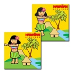 Lenticular Flexible Rubber Magnet with custom design, tropical Hawaiian hula girl dances next to a palm tree, animation