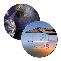 3D Magnet L3 Communications figher jet fires missile, picture of Earth satellite from orbit, flip