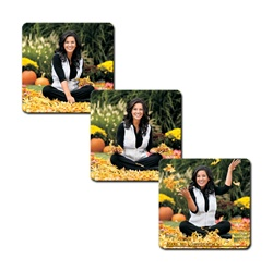 3D Lenticular Flexible Rubber Magnet with custom design, brunette woman sitting in an autumn field of pumpkins and leaves, flip