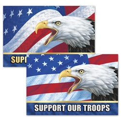 3D Lenticular Flexible Rubber Magnet with USA American bald eagle, flag with stars and stripes, support our troops, depth flip