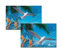 3D Magnet with custom design, white seagull or dove flaps its wings past a tropical Hawaiian palm tree, flip