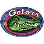 3D Car magnet with circle shaped, Florida Gators college football team, angry crocodile with sharp teeth and red oval border, depth