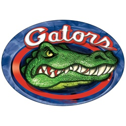 Car magnet with circle shaped, Florida Gators college football team, angry crocodile with sharp teeth and red oval border, depth