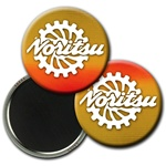 Lenticular magnetic button with brown, yellow, and orange, color changing with
