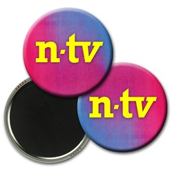 Lenticular magnetic button with red and blue gradient, color changing
