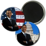 Lenticular magnetic button with USA American President Obama, flag and capitol building, flip