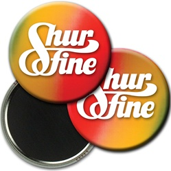 Lenticular magnetic button with red, yellow, and blue, color changing