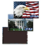 Lenticular Magnetic Rectangle with American flag, bald eagle, and White House, flip