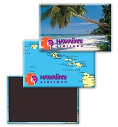 Lenticular Magnetic Rectangle with tropical Hawaiian palm tree on white sand beach, map of islands, flip
